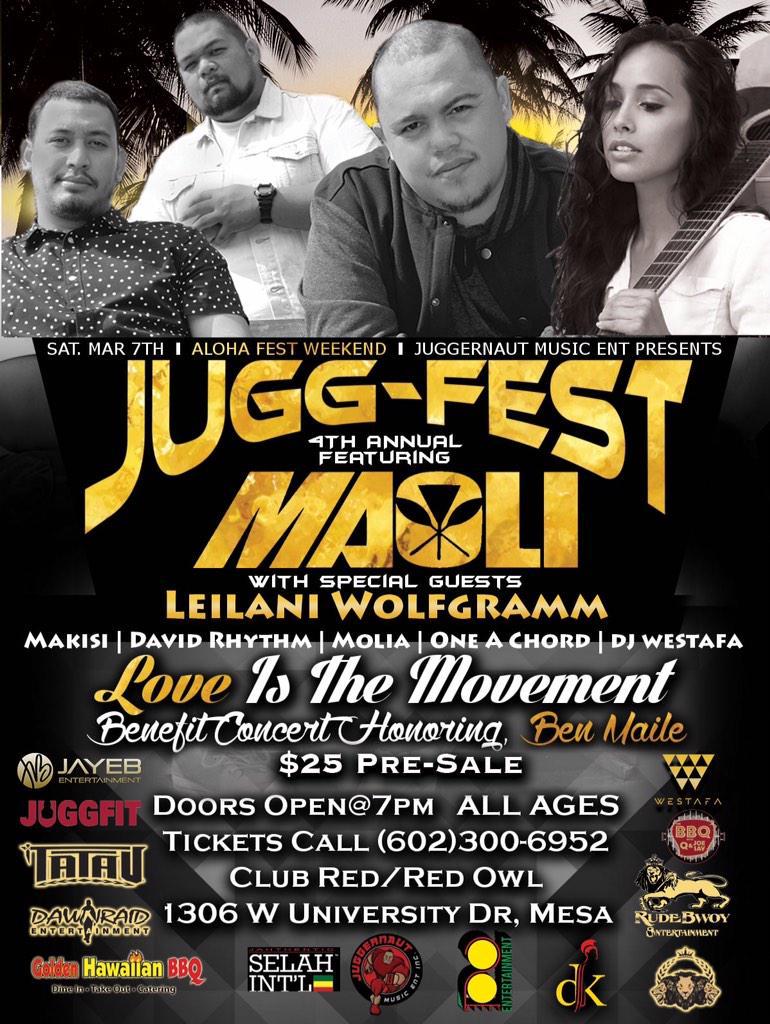#JME presents The 4th Annual #JUGGFEST ft. #Maoli #LeilaniWolfgramm #Makisi #SioneToki #DavidRhythm #Molia #OneaChord http://t.co/4eSOycZeRs