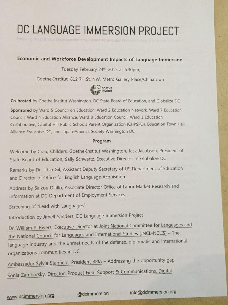 ICYMI tonight's program. Business, gov, education, diplomacy all represented. #langchat http://t.co/jvWMB6wue8