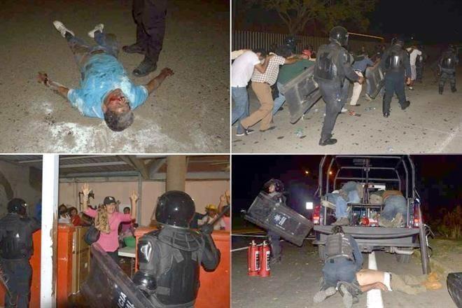 Protesta profesores #Ceteg que piden pago de su salario en Acapulco. Es Dispersada p/ Policía Fed hay + de 30 heridos