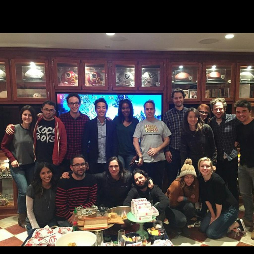 The writers watching the finale of #ParksandRec. Thank you for everything, everyone. We love you, Harris. http://t.co/ToNfehroUj