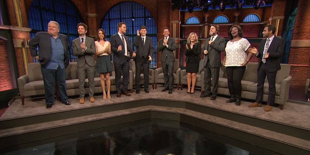 Give it up for the cast of @parksandrecnbc! #ParksandSeth http://t.co/3EG0prxCKO