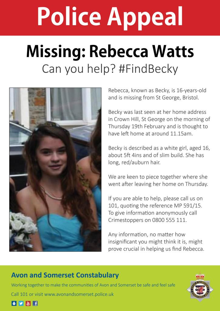 """Becky is a white girl, aged 16, about 5ft 4ins, slim build. She has long, red/auburn hair"" #FindBecky http://t.co/9cvHpbiqfb"