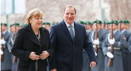 Lofven traffar merkel i berlin