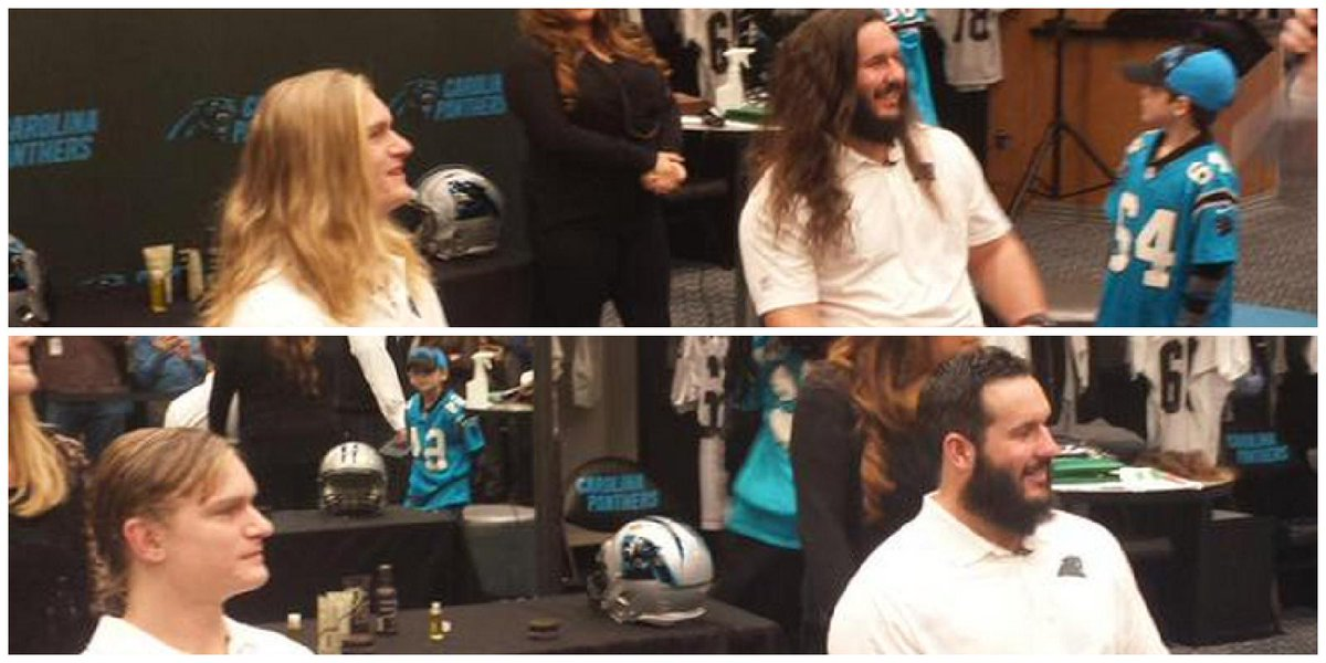 Panthers players Brenton Bersin & Brian Folkerts cut their hair for 1st time in 2 & 4 yrs respectively for charity