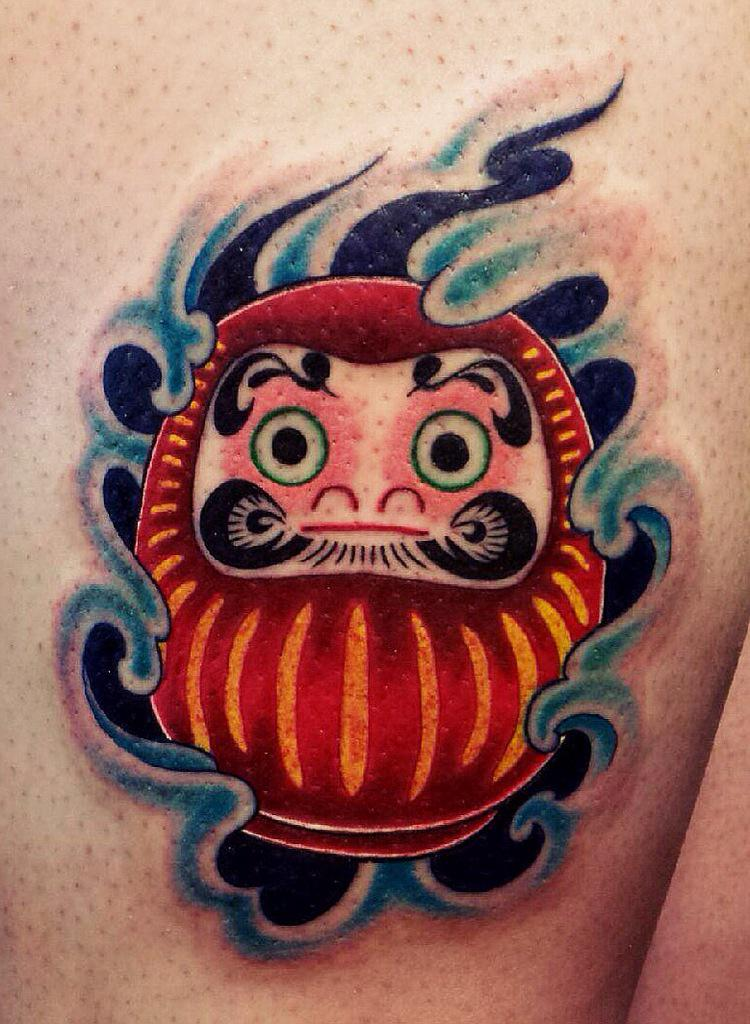 honorable society on twitter monty tattooed this cute daruma doll on a leg darumadoll. Black Bedroom Furniture Sets. Home Design Ideas