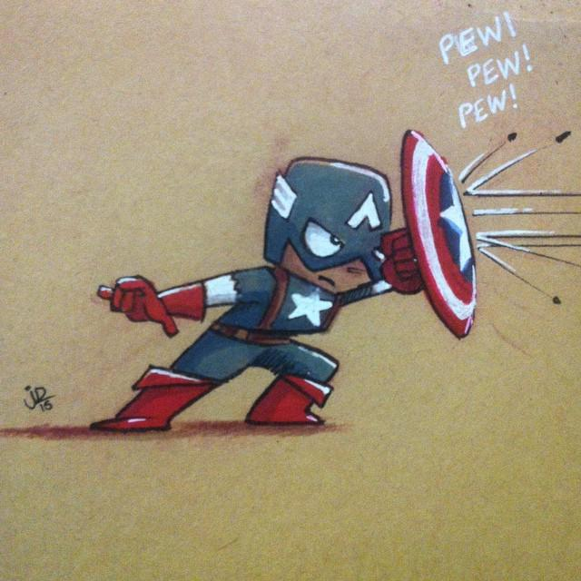 A little Captain America. Trying to come up with a simple style for mini convention #drawings. http://t.co/EfkpaxKbj1 http://t.co/gmBI3yJyUL