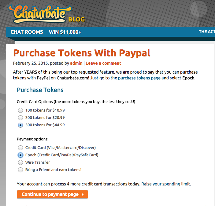 Chaturbate earn tokens