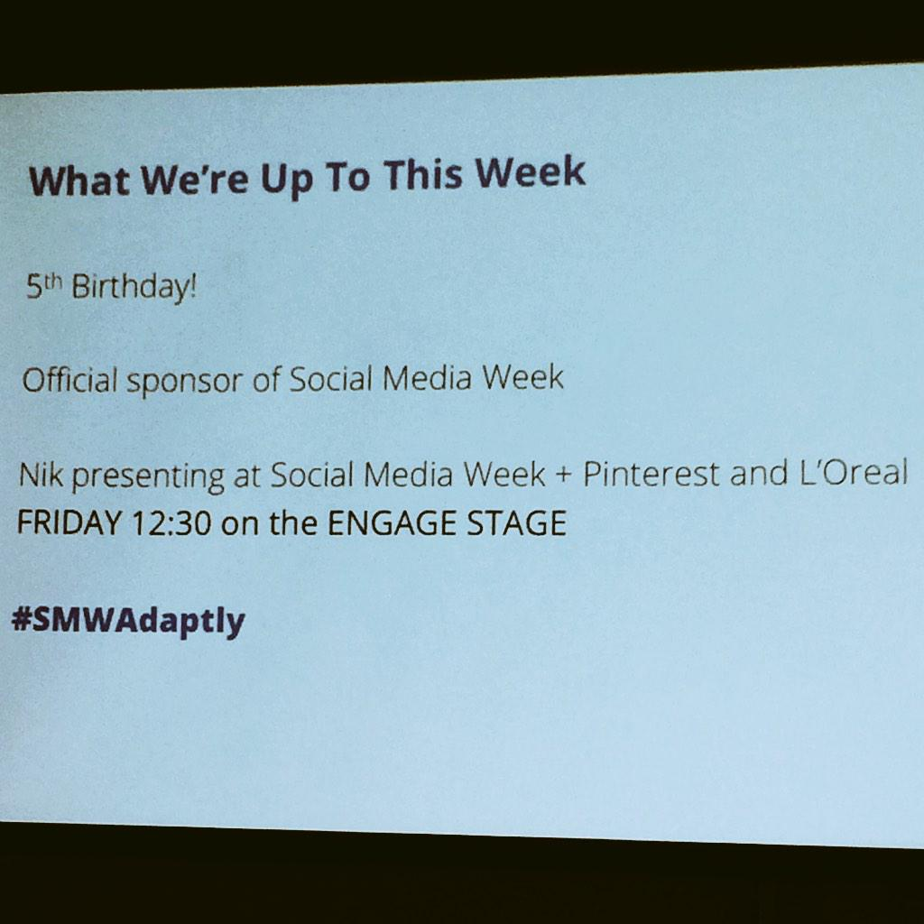 In case you were wondering what @adaptly is up to this week during #SMWNYC #smwadaptly http://t.co/L409RjmMUS