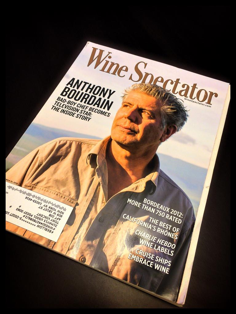 Crackin' interview w/ @Bourdain in March's @WineSpectator. Thank you #WS. Thank you A.B. #wine http://t.co/YEEax6FhKA