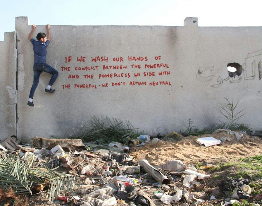 #Banksy created a new body of work that's highly critical of Israel's incursion in #Gaza. http://t.co/p91biBfWFw http://t.co/ZuGA2uWg6R