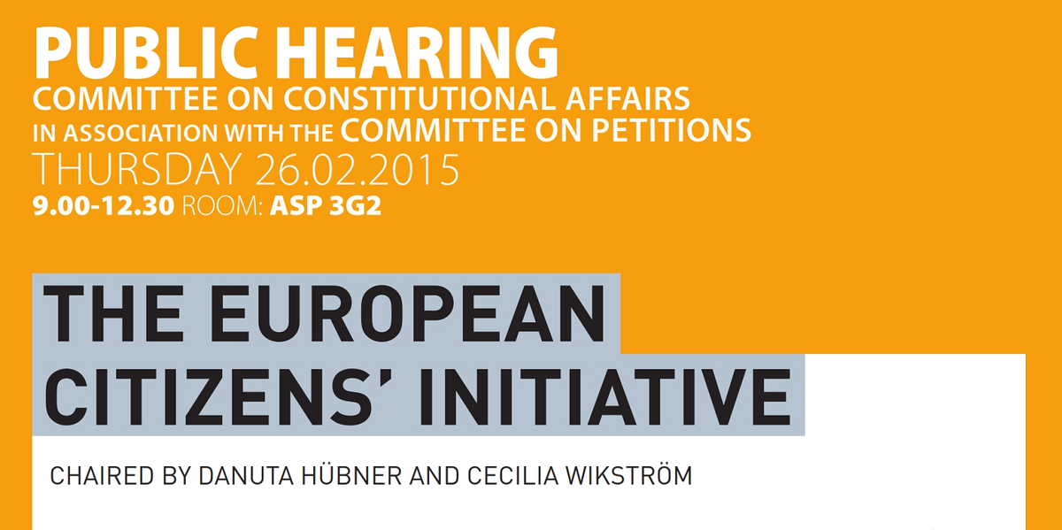 European Citizens Initiative hearing. Live http://t.co/LvzZz8IpiZ #EPhearingonECI @EPInstitutional @EP_Petitions http://t.co/2IFQGVYJd9
