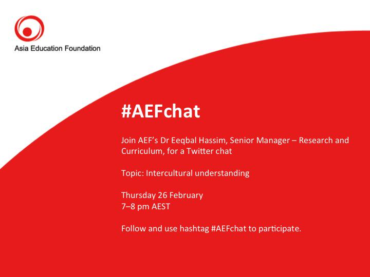 Welcome to #AEFchat: Intercultural understanding! Please let us know who you are and where you're from http://t.co/YjPZBMzm48