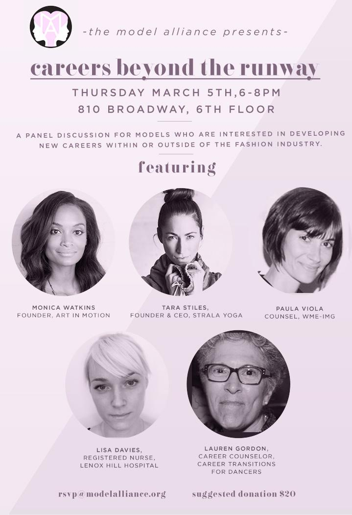 """RT @saraziff: NYC models: mulling your next move? Check out @ModelAllianceNY's """"Careers Beyond the Runway"""" on Thursday, March 5th! http://t…"""