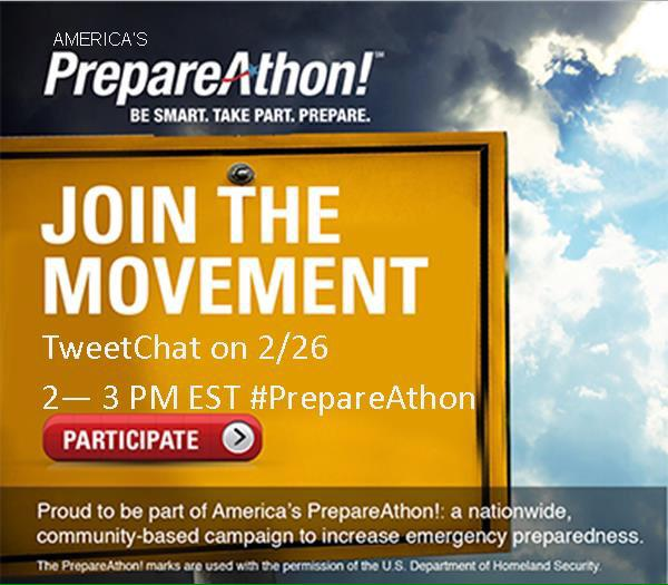 Right now: Follow #PrepareAthon & learn about tools your community can use to prepare for disasters. http://t.co/PdKhmGNZUQ @PrepareAthon