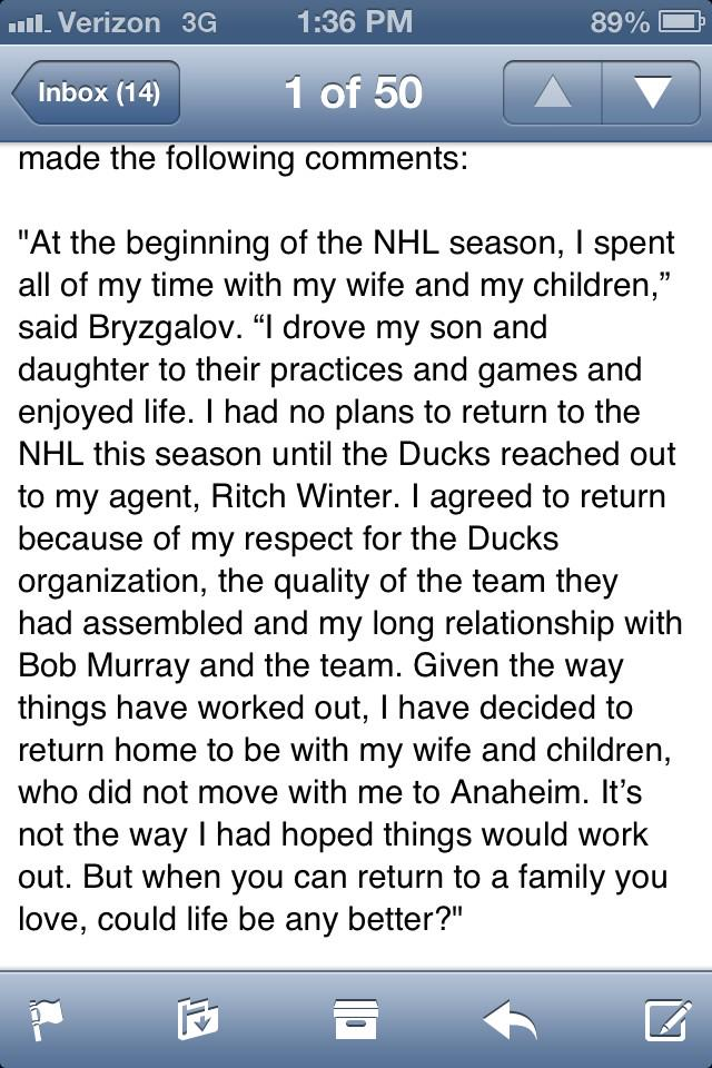 Through the Ducks, Ilya Bryzgalov issues the following statement about going home for the rest of the season. http://t.co/2Xcx0fg4zV