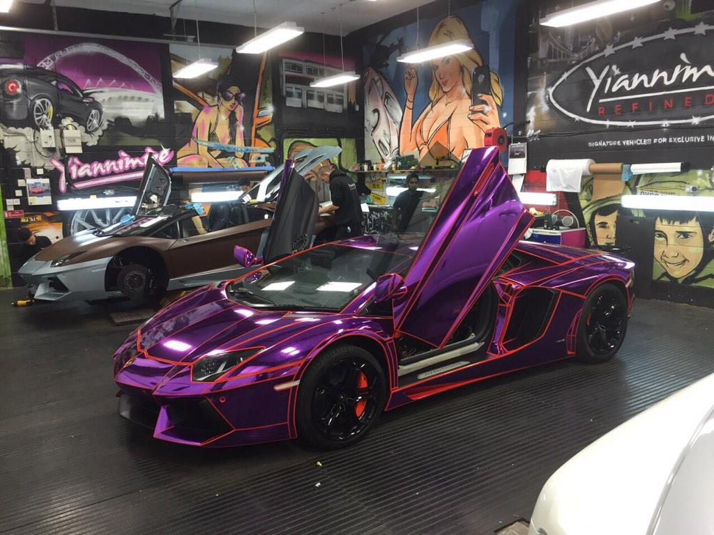 Went all out on @KSIOlajidebt custom Aventador... Wait for the you tube video next week. Search Yiannimize