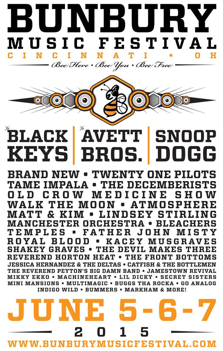 bunbury music festival cincinnati june 5-7 2015
