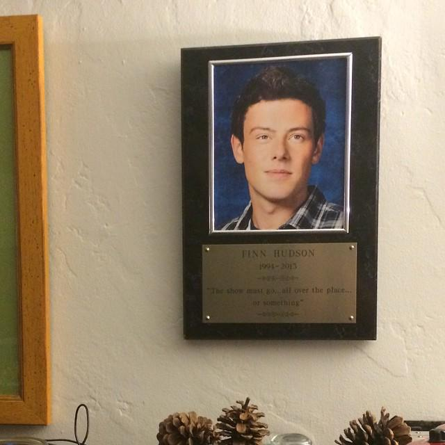 My one souvenir from set. Right above my piano where it belongs #gleefamily http://t.co/j713CibF5Z http://t.co/F9u1wgFABd
