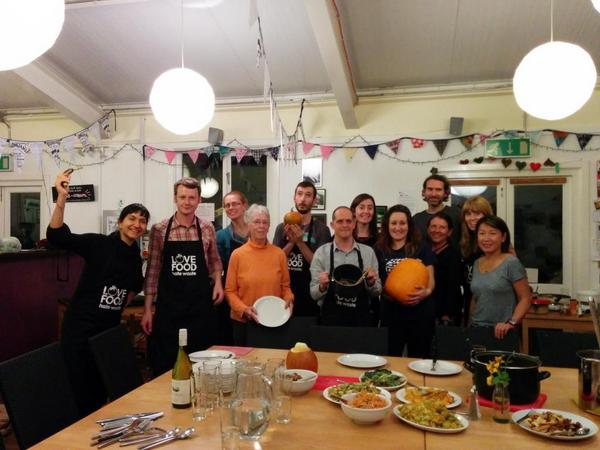 The #pumpkinrescue team ready for Dinner! All from food waste! @DinnerTimeCAG http://t.co/xtOt0TElTB
