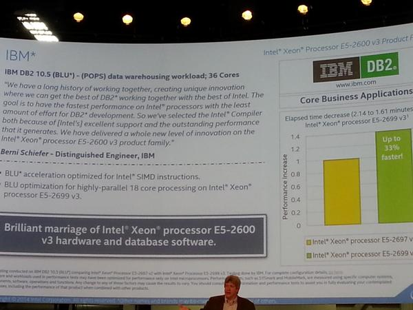 Did YOU see how an upgrade to @intel #xeon E5v3 bumps 35% over E5v2 & 144x w/ @ibm_db2 cancun. #ibminsight http://t.co/Whc1rtcvTt
