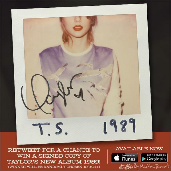Re-tweet for a chance to win a SIGNED copy of @taylorswift13's NEW album, 1989, available NOW: http://t.co/cTAjt6mq87 http://t.co/XJRmtBTIwp