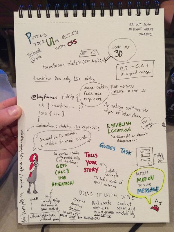 """Animation is worth a million thousand words"" My #sketchnotes from @vlh motivating talk on #cssanimation at #aeaorl http://t.co/Ag4DwdzXHm"