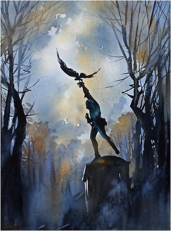 The Falconer #NYC #CentralPark #statue #watercolor #watercolour #painting #art #thomaswschaller http://t.co/MjSgHeRnKn via @twschaller *wow!
