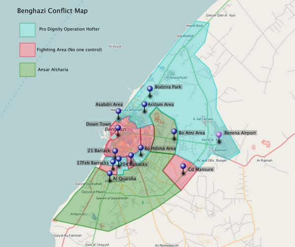 Mutaz Gedalla on Twitter Benghazi conflict map httptco