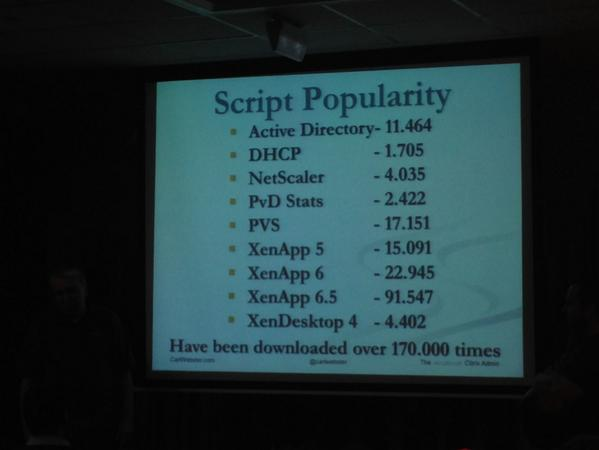 Ever wonder how popular @CarlWebster 's #PowerShell scripts are? See photo. It's amazing #E2EVC http://t.co/fBWG5QLtao