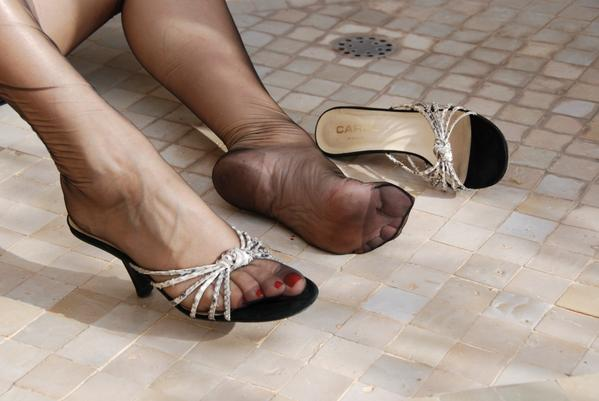 Nylon stocking covered feet