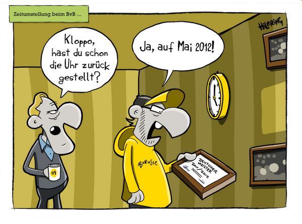 #BVB: Lust auf einen Cartoon? Es geht um die Zeitumstellung von Jürgen #Klopp. http://t.co/VMkJZrLPWQ @OlisCartoons http://t.co/NpHDTj7IbA