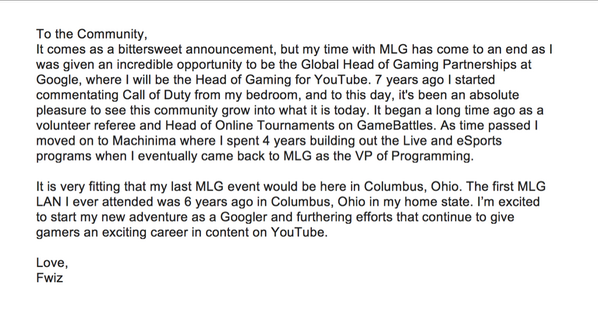 Update: I'm now the Head of Gaming @YouTube! I'm excited to be working with the most passionate creators in gaming. http://t.co/RYjnkxchNY