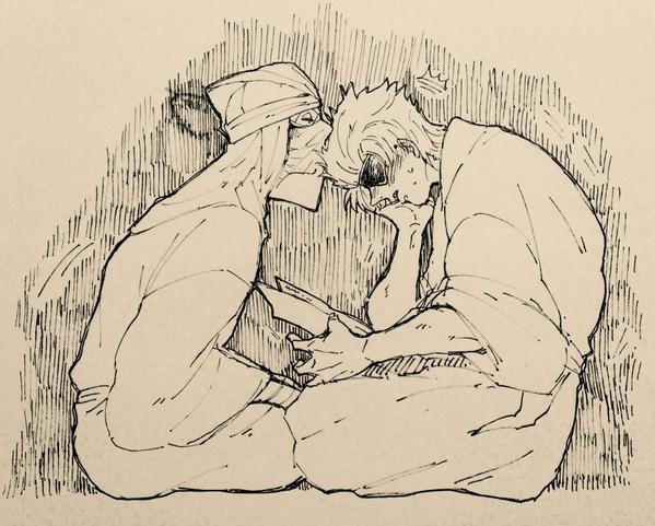 突如として描いた、すんげー落書きちかたに。仲良さそう。不意打ち。そして硬い筆ペンでがさがさしてたらミスった。 ※落書き写メ