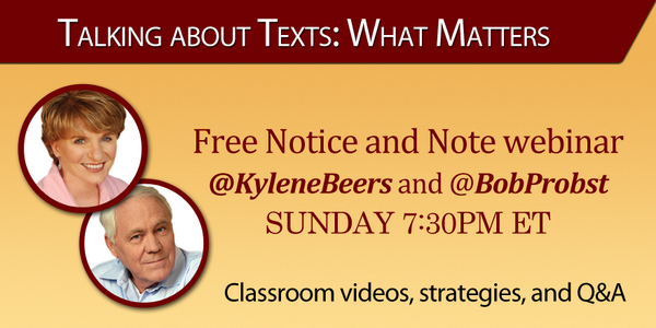 The #NoticeandNote webinar with @KyleneBeers & @BobProbst starts in one hour! We'll live tweet! Space still available http://t.co/JpEYyLLrLG
