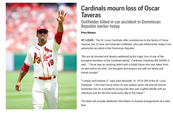 We are all stunned and deeply saddened by the tragic loss of one of the youngest members of the Cardinals family. http://t.co/MDyAZxSQ4B