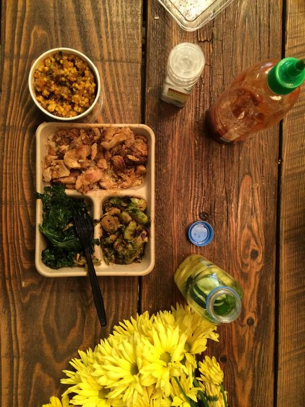 Lunchtime! Chicken on rice, Sautéed Kale, and our (new!) Brussels Sprouts. –Margo, @diginn #DayInTheLife http://t.co/EqHA3ODEkh