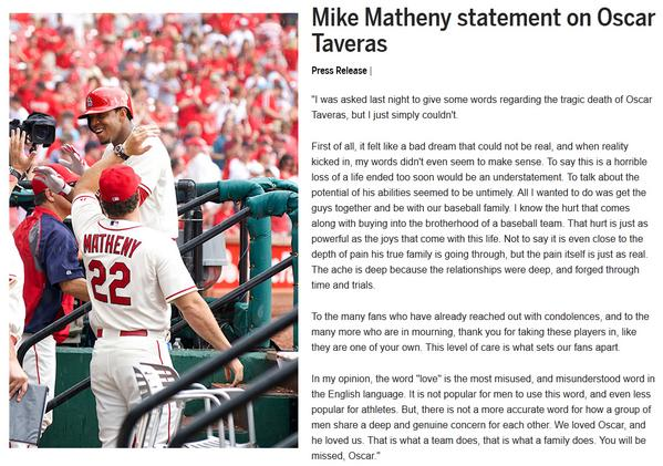 """""""We loved Oscar, & he loved us. That is what a team does, that is what a family does""""- Matheny http://t.co/ZehYFvLhhC http://t.co/BfG1DcVNIa"""