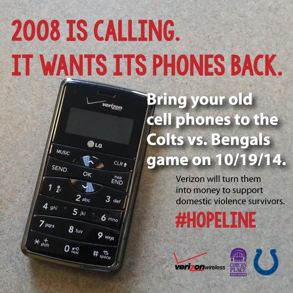 Going to the Colts game on Sunday? Bring your old cell phones to help support domestic violence survivors. #hopeline http://t.co/MEhnsCgJnw