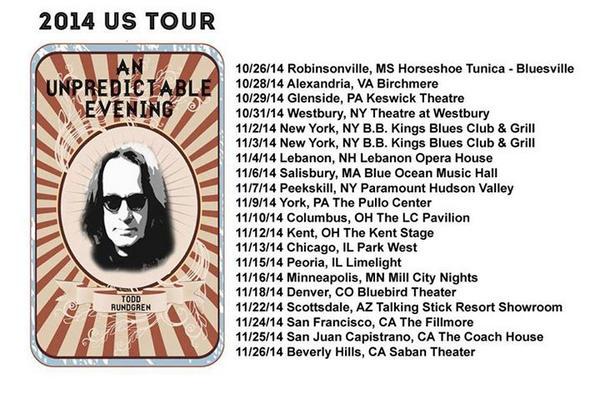 WOW! ~ TODD RUNDGREN US TOUR 2014  @toddrundgren http://t.co/A4rAFtlZK9