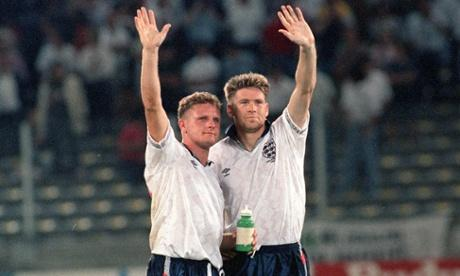 """90s Football on Twitter: """"Paul Gascoigne and Chris Waddle wave ..."""