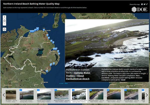 Map Of Ireland Beaches.Esri Story Maps On Twitter Northern Ireland Beach Bathing Water