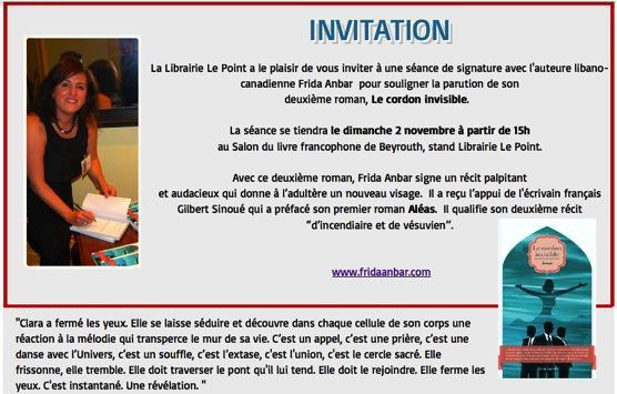 frida anbar on twitter invitation signature du 2 novembre au salon du livre francophone de. Black Bedroom Furniture Sets. Home Design Ideas