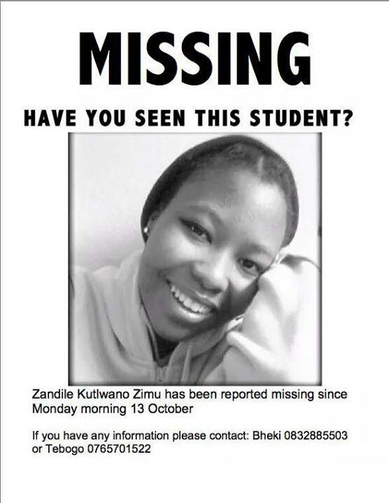 Any help with this missing student from uj campus kingsway would be appreciated http://t.co/28z2FjFrLN