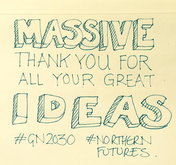 Open Ideas Day - pens down, time is up 'When it's over it's over' (or just the beginning...) #GN2030 #NorthernFutures http://t.co/8Rqf24E5tA