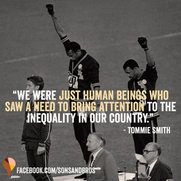 RT @sonsandbros: On this day in 1968, Tommie Smith and John Carlos gave the black power salute on the Olympic podium. #KnowYourHistory http…