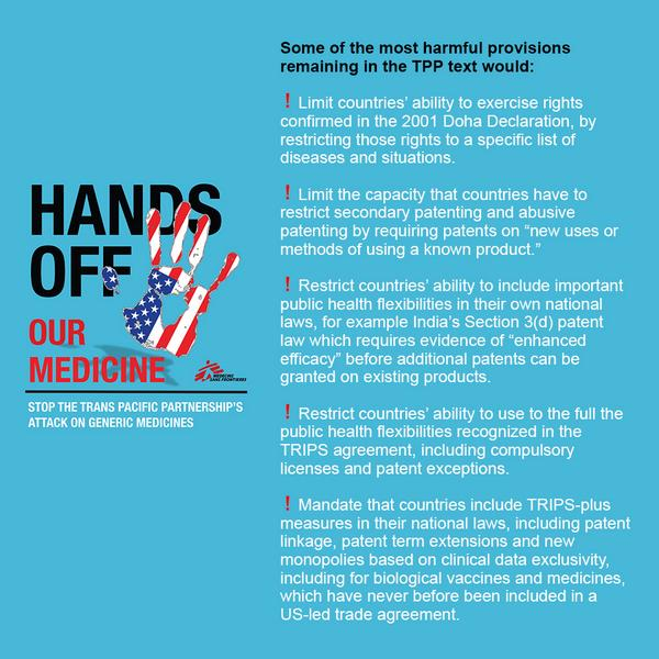 Some of the harmful provisions for access to medicines remaining in the #TPP text http://t.co/XnFOpgKIhz #wikileaks http://t.co/z9P362rEbb