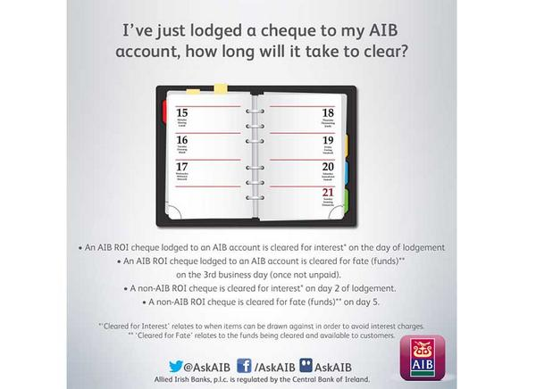 Aib customer support on twitter how long does it take a cheque to aib customer support on twitter how long does it take a cheque to clear we have the answer if you have any other banking questions just ask reheart Gallery