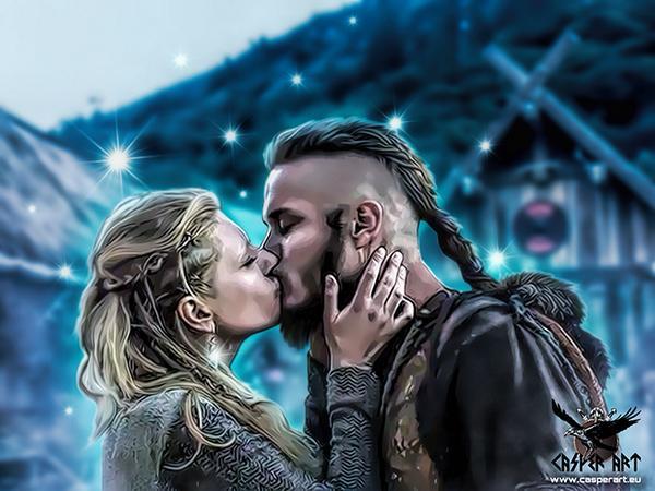 "Casper Art on Twitter: ""Ragnar Lothbrok and Lagertha @Team_Travis ..."