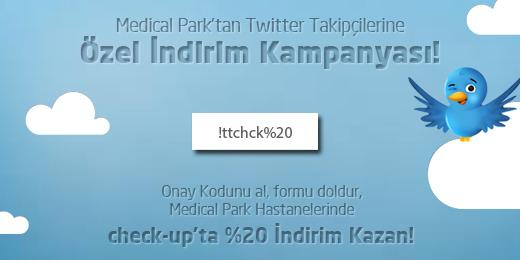 Medical Park'tan Twitter takipçilerine özel #checkup indirimi! Kodu gir, %20 indirim kazan! http://t.co/tgTklL6vsi http://t.co/MvBEU0xhMi