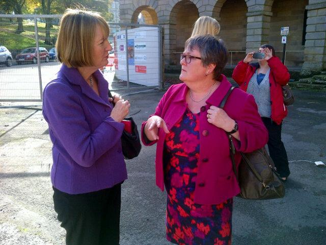 Harriet Harman and Caitlin Bisknell